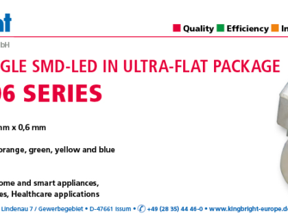 NEW RIGHT ANGLE SMD-LED IN ULTRA-FLAT PACKAGE – KPDA-1806 SERIES